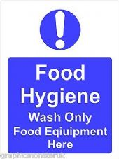 Food Hygiene Sticker/Decal Wash Only  Food Equipment  A5 (145mm x 195mm)